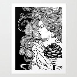 ROSE B&W Art Print