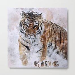 KING watercolor Siberian Tiger Metal Print
