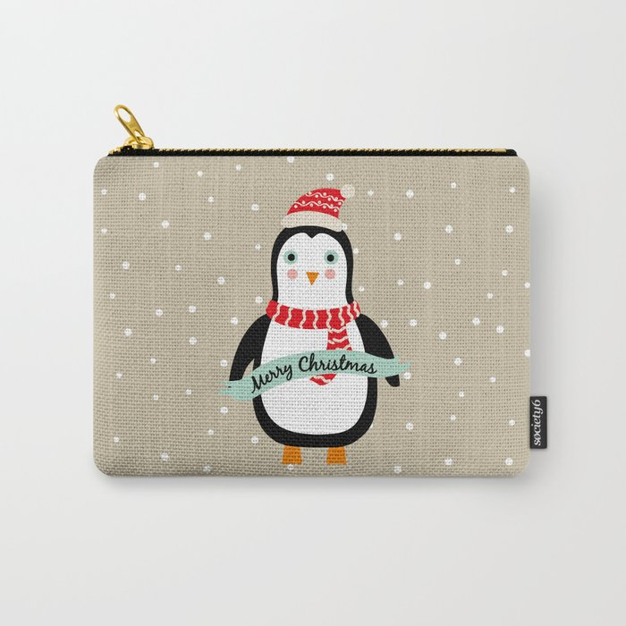 """Cute Penguin wishes """"Merry Christmas"""" - X-mas Christmas Winter Design Carry-All Pouch"""