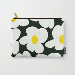 White Retro Flowers Black Background #decor #society6 #buyart Carry-All Pouch