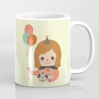 ballon Mugs featuring Hold The Happy Ballon by Minifanfan