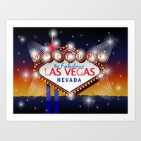 Welcome to fabulous Las Vegas Nevada sign in blue gold background, vector Art Print
