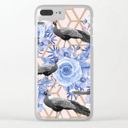 Peacocks and Blue Flowers on Geometric Clear iPhone Case
