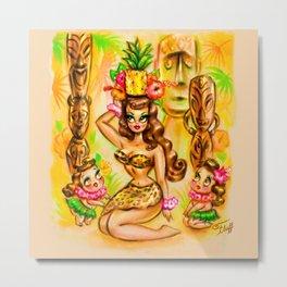 Pineapple Island Girl with Tikis Metal Print