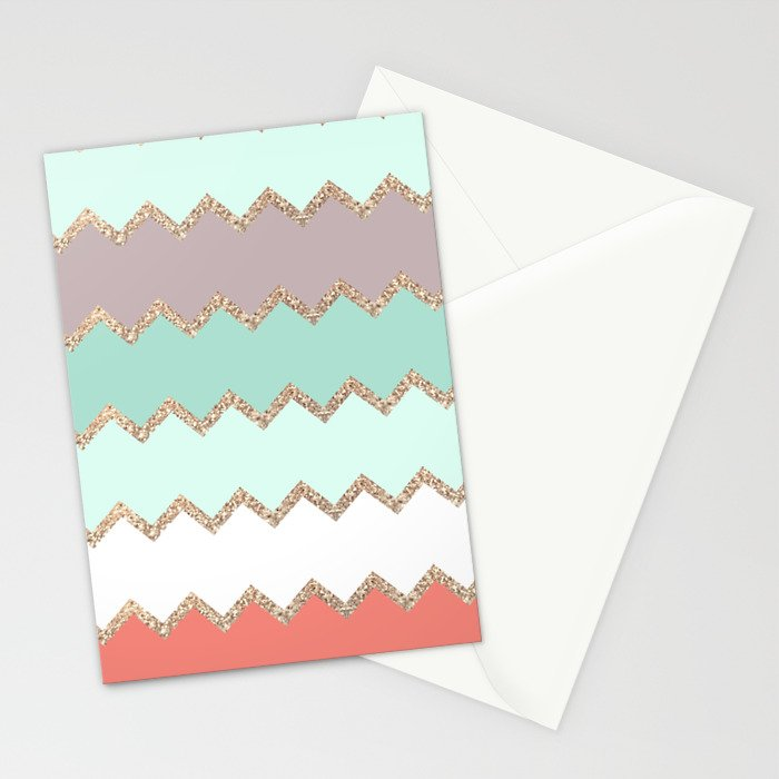 AVALON CORAL MINT Stationery Cards