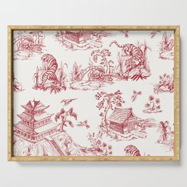 The Dragon and Tiger. Vintage hand drawn illustration pattern in chinese style. Serving Tray