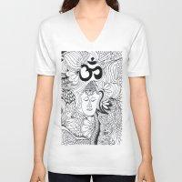 meditation V-neck T-shirts featuring Meditation by Kassidy Kawa