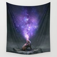 coyote Wall Tapestries featuring All Things Share the Same Breath (Coyote Galaxy) by soaring anchor designs
