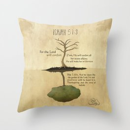 The Lord will confort Zion_Isaiah 51:3 Throw Pillow