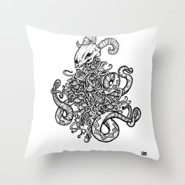 Ram Skull Throw Pillow