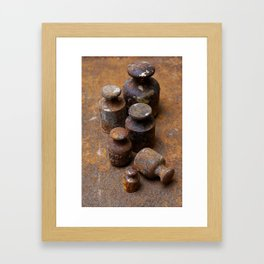Old weights for scales Framed Art Print