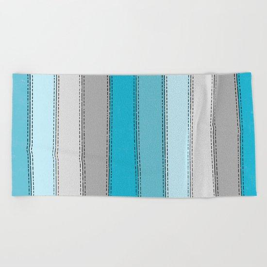 Blue Lines Beach Towel