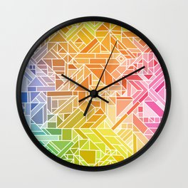 Bright Gradient (Hot Pink Orange Green Yellow Blue) Geometric Pattern Print Wall Clock
