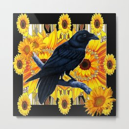 GRAPHIC BLACK CROW & YELLOW SUNFLOWERS ABSTRACT Metal Print