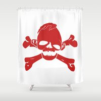 the goonies Shower Curtains featuring Goonies Never say die Red by Komrod