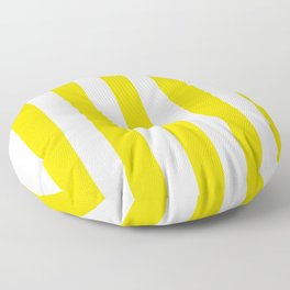 Sizzling Sunrise yellow - solid color - white vertical lines pattern Floor Pillow