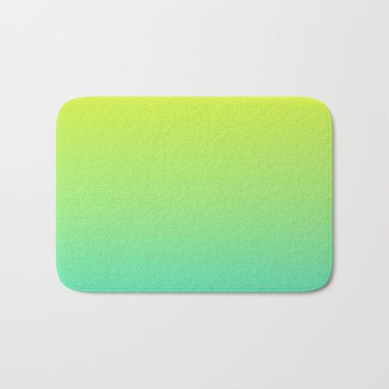 Ombre gradient illustration yellow blue green colors Bath Mat