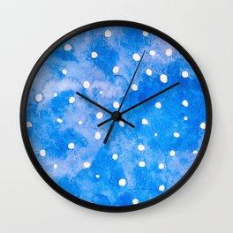 winter night sky - watercolor paintig Wall Clock