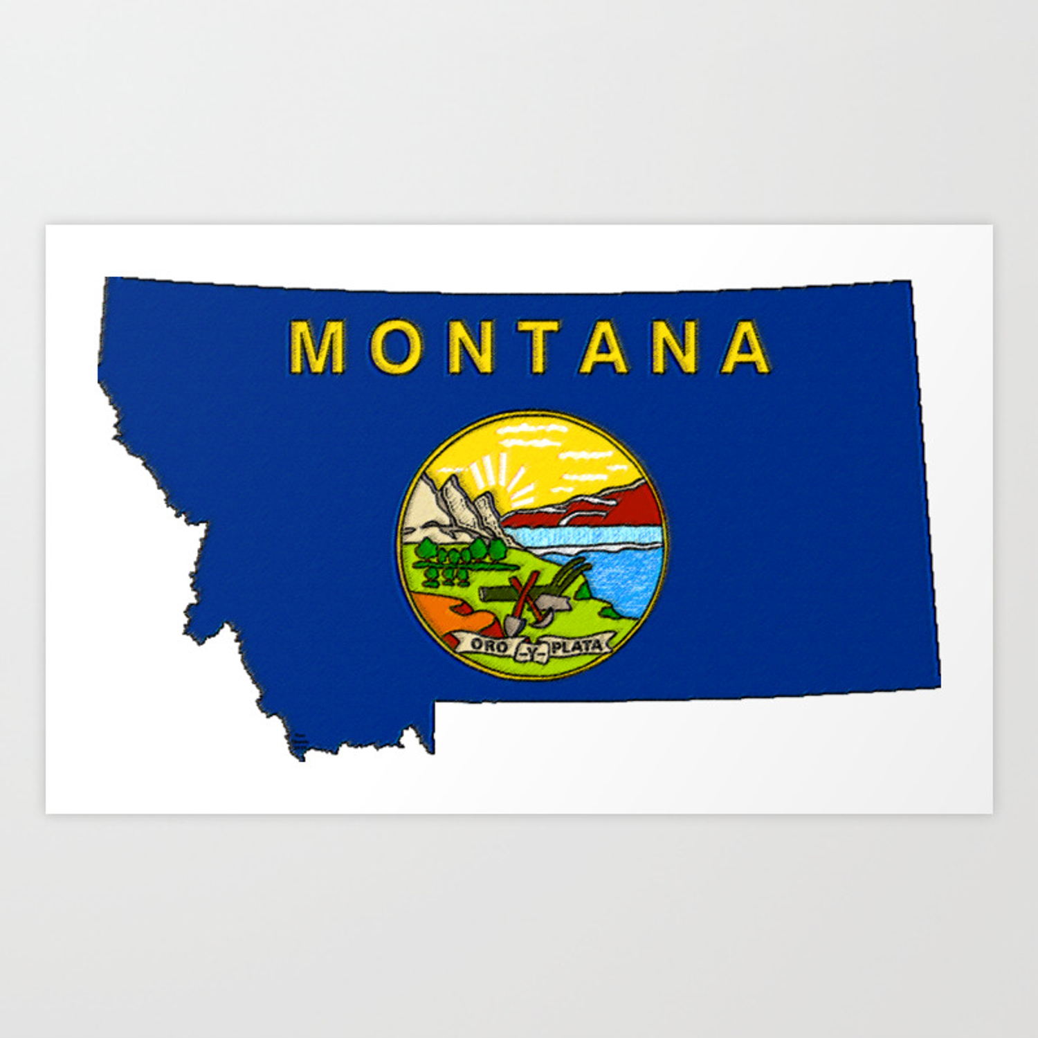 Montana Map With Montana State Flag Art Print By Havocgirl Society6