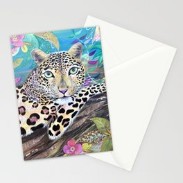 Lazy Leopard in the Jungle Stationery Cards