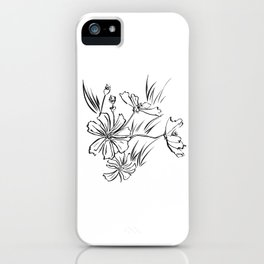 Cosmos Flowers Ink Drawing iPhone Case