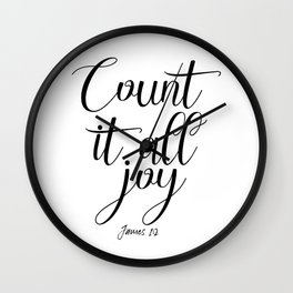 Count It All Joy, Bible Quote, Bible Art, Joy Quote, Religious Art Wall Clock