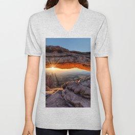 Mesa Arch Sunburst  by Lena Owens Unisex V-Neck