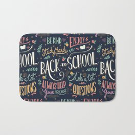 Back to school colorful typography drawing on blackboard with motivational messages, hand lettering Bath Mat
