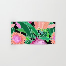 Bird of Paradise + Ginger Tropical Floral in Black Hand & Bath Towel