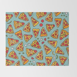 Funny pizza pattern Throw Blanket