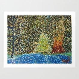 Snow Falling, Tree and Bonfire Art Print