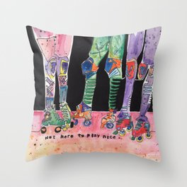 Roller Derby Girls Throw Pillow