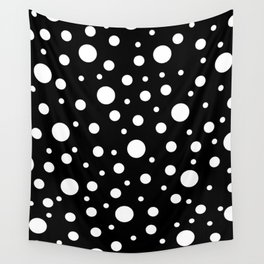 White on Black Polka Dot Pattern Wall Tapestry