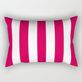 Rich carmine fuchsia - solid color - white vertical lines pattern Rectangular Pillow