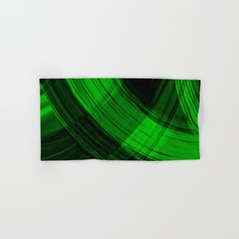 Iridescent arcs of malachite curtains of hanging flowing lines on velvet fabric.  Hand & Bath Towel