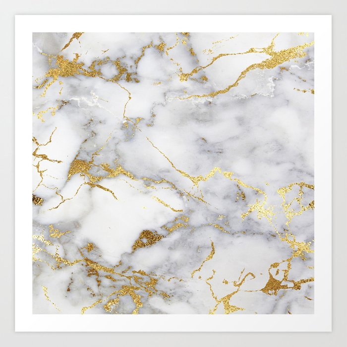 Italian Gold Marble Art Print By Hunterofwoods Society6