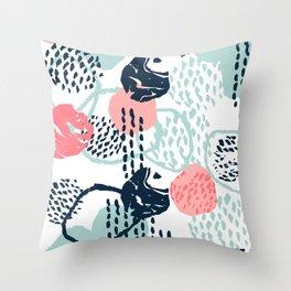 Mellie - abstract minimal modern art print painted boho hipster gender neutral canvas art Throw Pillow