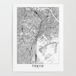 Tokyo White Map Poster
