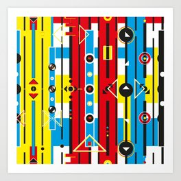 Graphic retro weave Art Print
