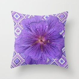 LILAC PURPLE FLORAL & PURPLE GEOMETRIC Throw Pillow