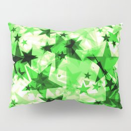 Metallic green glowing dark golden stars on a light background in the projection. Pillow Sham