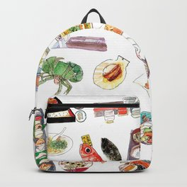 Watercolor Hand Draw Japanese Foods Collection Backpack