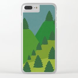 Blue Sky over Green Summer Mountain and Forest Clear iPhone Case