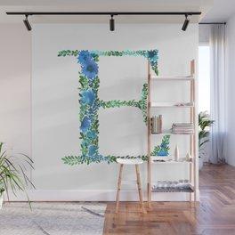 Floral Monogram Letter E Wall Mural