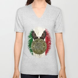 MEXICAN EAGLE AZTEC CALENDAR FLAG Unisex V-Neck