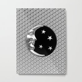 Art Deco Moon and Stars, Black and Silver Metal Print