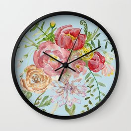 Bouquet of Watercolor on Blue Background Wall Clock
