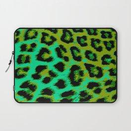 Aqua and Apple Green Leopard Spots Laptop Sleeve