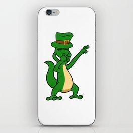 Dabbing St Patrick_s Day Iguana Leprechaun iPhone Skin