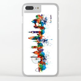 London Watercolor Skyline Silhouette Clear iPhone Case